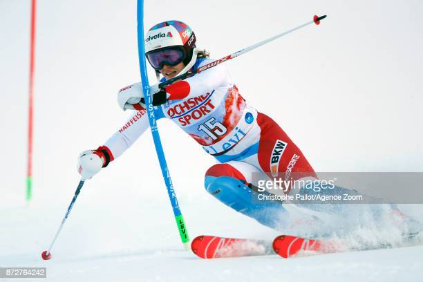 Michelle Gisin of Switzerland competes during the Audi FIS Alpine Ski World Cup Women's Slalom on November 11 2017 in Levi Finland