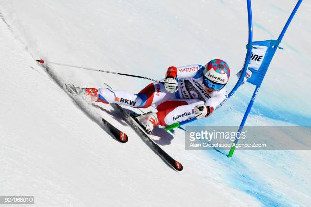 Michelle Gisin of Switzerland competes during the Audi FIS Alpine Ski World Cup Women's Combined on March 4 2018 in CransMontana Switzerland