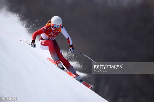 Michelle Gisin of Switzerland competes during the Ladies' Downhill on day 12 of the PyeongChang 2018 Winter Olympic Games at Jeongseon Alpine Centre...