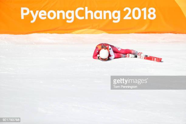 Michelle Gisin of Switzerland crashes at the finish during the Ladies' Downhill on day 12 of the PyeongChang 2018 Winter Olympic Games at Jeongseon...