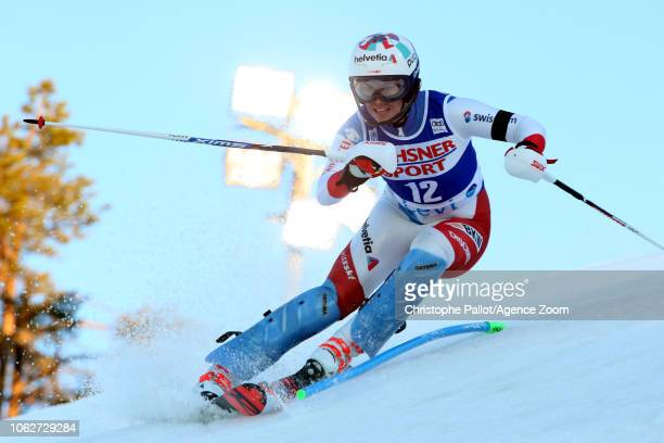 Michelle Gisin of Switzerland in action during the Audi FIS Alpine Ski World Cup Women's Slalom on November 17 2018 in Levi Finland
