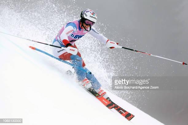 Michelle Gisin of Switzerland in action during the Audi FIS Alpine Ski World Cup Women's Slalom on November 25 2018 in Killington USA