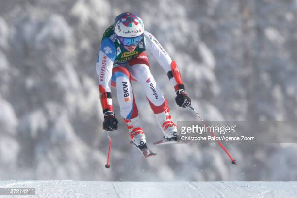 Michelle Gisin of Switzerland in action during the Audi FIS Alpine Ski World Cup Women's Super G on December 8 2019 in Lake Louise Canada