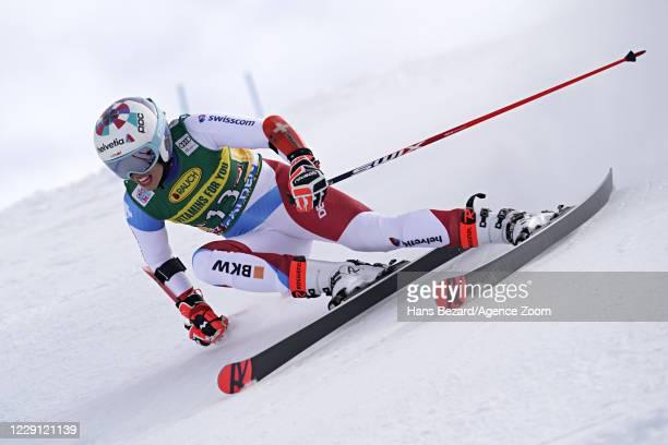 Michelle Gisin of Switzerland in action during the Audi FIS Alpine Ski World Cup Women's Giant Slalom on October 17, 2020 in Soelden, Austria.