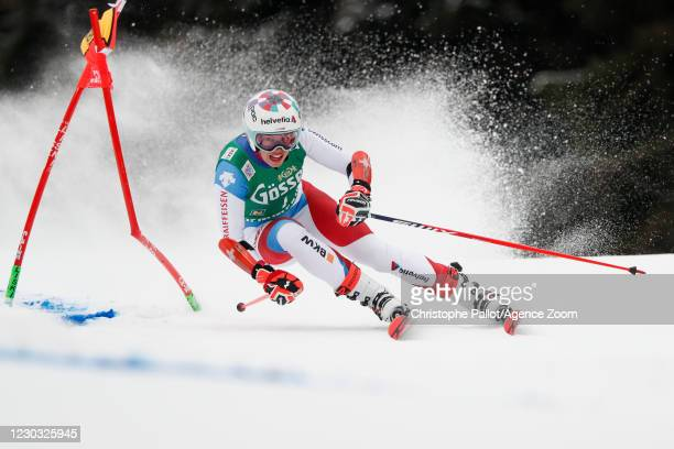 Michelle Gisin of Switzerland in action during the Audi FIS Alpine Ski World Cup Women's Giant Slalom on December 28, 2020 in Semmering, Austria.