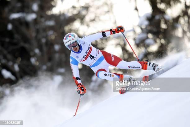 Michelle Gisin of Switzerland in action during the Audi FIS Alpine Ski World Cup Women's Giant Slalom in January 17, 2021 in Kranjska Gora, Slovenia.