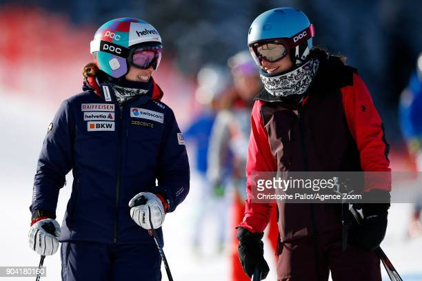 Michelle Gisin of Switzerland inspects the course Dominique Gisin of Switzerland inspects the course during the Audi FIS Alpine Ski World Cup Women's...