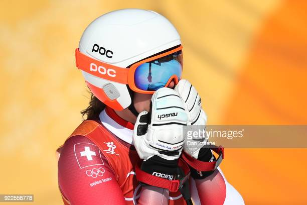 Michelle Gisin of Switzerland reacts during the Ladies' Alpine Combined on day thirteen of the PyeongChang 2018 Winter Olympic Games at Yongpyong...