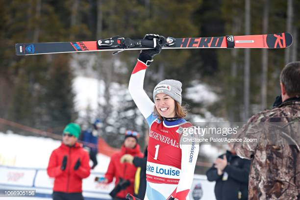 Michelle Gisin of Switzerland takes 2nd place during the Audi FIS Alpine Ski World Cup Women's Downhill on November 30 2018 in Lake Louise Canada