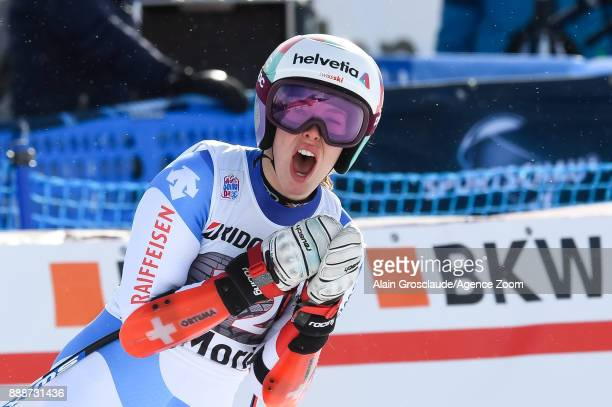 Michelle Gisin of Switzerland takes 2nd place during the Audi FIS Alpine Ski World Cup Women's Super G on December 9 2017 in St Moritz Switzerland