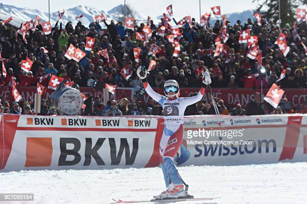 Michelle Gisin of Switzerland takes 2nd place during the Audi FIS Alpine Ski World Cup Women's Combined on March 4 2018 in CransMontana Switzerland