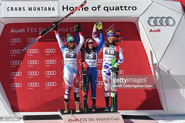 Michelle Gisin of Switzerland takes 2nd place Federica Brignone of Italy takes 1st place Petra Vlhova of Slovakia takes 3rd place during the Audi FIS...