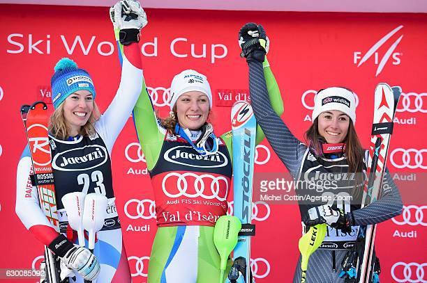 Michelle Gisin of Switzerland takes 2nd place Ilka Stuhec of Slovenia takes 1st place Sofia Goggia of Italy takes 3rd place during the Audi FIS...