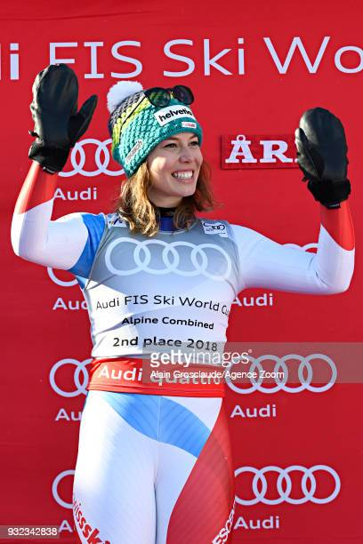 Michelle Gisin of Switzerland takes 2nd place in the women alpine combined standing during the Audi FIS Alpine Ski World Cup Finals Men's and Women's...