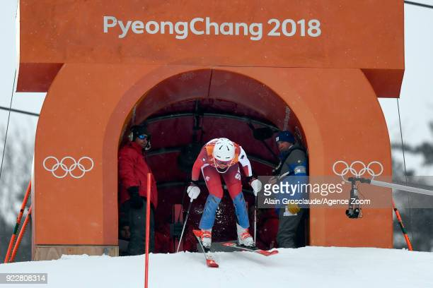 Michelle Gisin of Switzerland wins the gold medal during the Alpine Skiing Women's Combined at Jeongseon Alpine Centre on February 22, 2018 in...