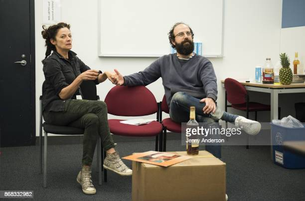 Michelle Gomez and Brett Gelman in rehearsal for 24 Hour Plays on Broadway at American Airlines Theatre on October 30 2017 in New York City