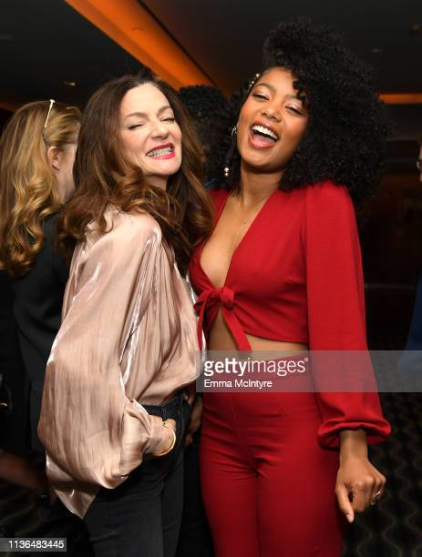 Michelle Gomez and Jaz Sinclair attend Netflix's The Chilling Adventures of Sabrina QA and Reception at the Pacific Design Center on March 17 2019 in...