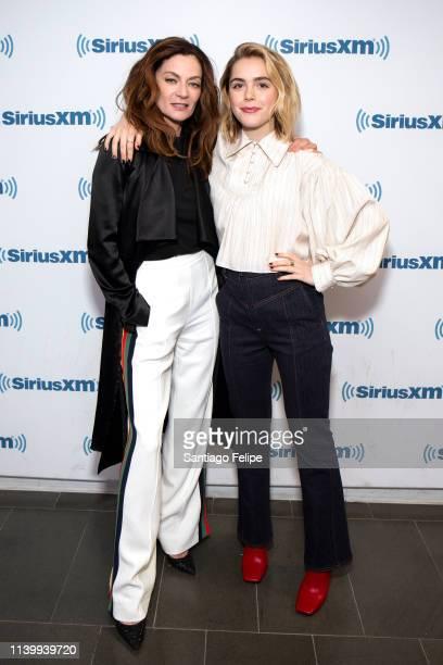 Michelle Gomez and Kiernan Shipka visit SiriusXM Studios on April 02 2019 in New York City