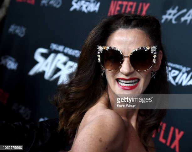 Michelle Gomez arrives at the premiere of Netflix's Chilling Adventures Of Sabrina at the Hollywood Athletic Club on October 19 2018 in Los Angeles...