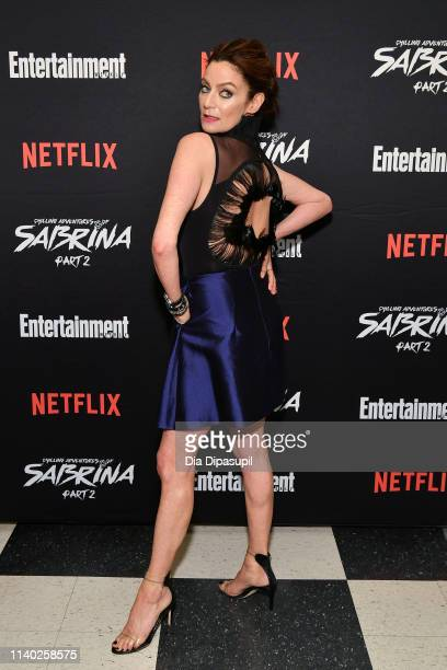 Michelle Gomez attends a screening of the Chilling Adventures of Sabrina Part 2 hosted by Entertainment Weekly and Netflix at the Roxy Hotel on April...