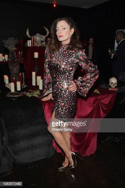 Michelle Gomez attends Netflix Original Series Chilling Adventures of Sabrina red carpet and premiere event on October 19 2018 in Los Angeles...