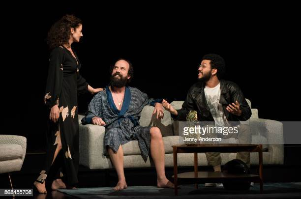 Michelle Gomez Brett Gelman and Justice Smith perform during 24 Hour Plays on Broadway at American Airlines Theatre on October 30 2017 in New York...