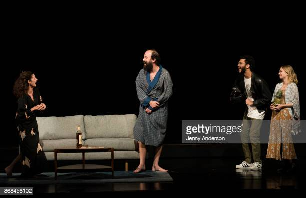 Michelle Gomez Brett Gelman Justice Smith and Tavi Gevinson perform during 24 Hour Plays on Broadway at American Airlines Theatre on October 30 2017...