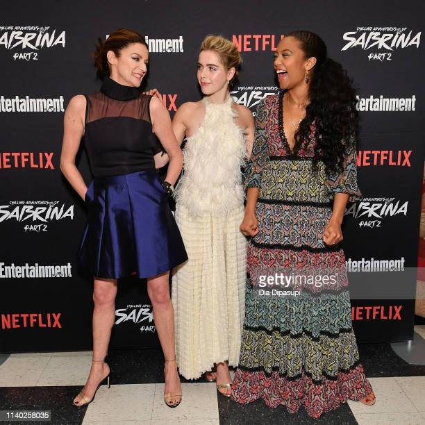 Michelle Gomez Kiernan Shipka and Jaz Sinclair attend a screening of the Chilling Adventures of Sabrina Part 2 hosted by Entertainment Weekly and...
