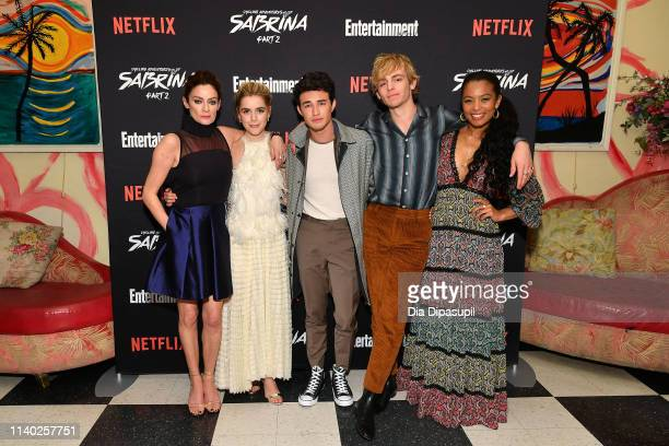 Michelle Gomez Kiernan Shipka Gavin Leatherwood Ross Lynch and Jaz Sinclair attend a screening of the Chilling Adventures of Sabrina Part 2 hosted by...