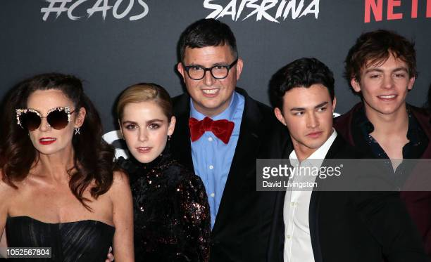 Michelle Gomez Kiernan Shipka Roberto AguirreSacasa Gavin Leatherwood and Ross Lynch attend the premiere of Netflix's Chilling Adventures of Sabrina...