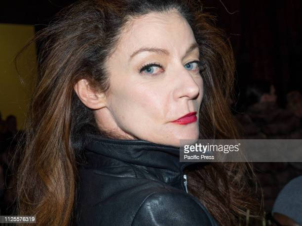 Michelle Gomez on the front row for Dennis Basso Fall/Winter 2019 Collection during New York Fashion Week at Cipriani 42nd Street Manhattan