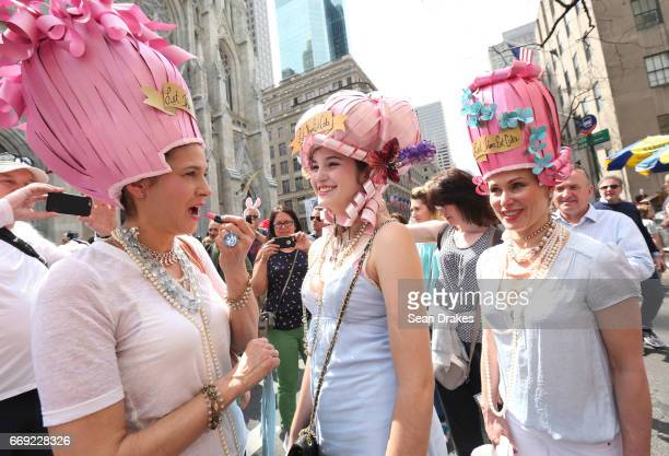 MIchelle Grigley Nico Grigley and Nhickolle Clayton take part in the Easter Parade on Fifth Avenue at St Patrick's Cathedral on April 16 2017 in New...