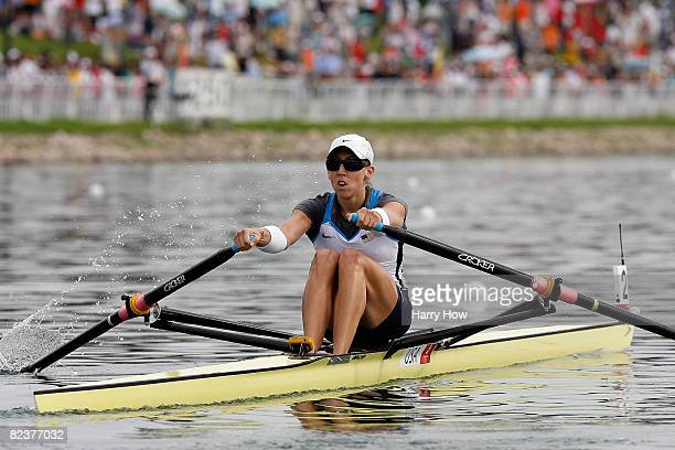 Michelle Guerette of the United States competes in the Women's Single Sculls Final at the Shunyi Olympic Rowing-Canoeing Park on Day 8 of the Beijing...