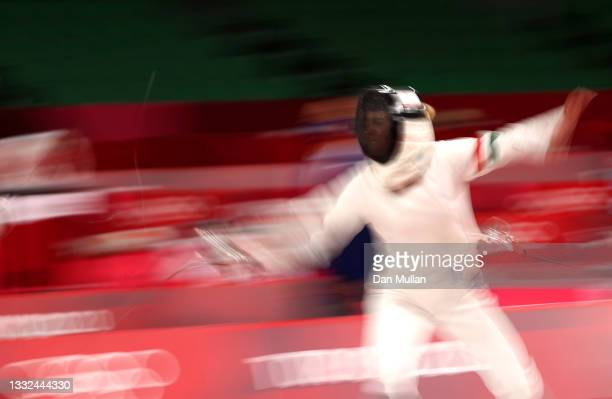 Michelle Gulyas of Team Hungary competes during the Fencing Ranked Round of the Women's Modern Pentathlon on day thirteen of the Tokyo 2020 Olympic...