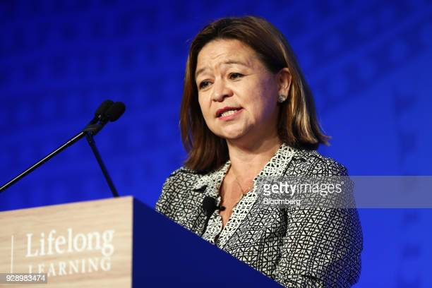 Michelle Guthrie managing director of the Australian Broadcasting Corporation speaks during the Wharton Global Forum in Sydney Australia on Thursday...