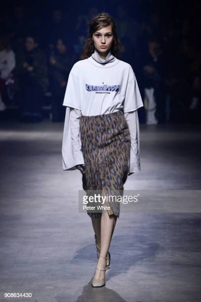 Michelle Gutknecht walks the runway during the Kenzo Menswear Fall/Winter 20182019 show as part of Paris Fashion Week on January 21 2018 in Paris...