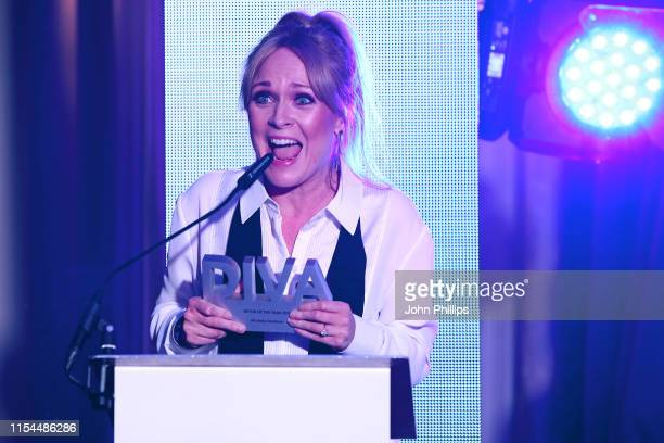 Michelle Hardwick accepts the award for 'Actor of the year' at the Diva Awards 2019 at The Waldorf Hilton Hotel on June 07 2019 in London England