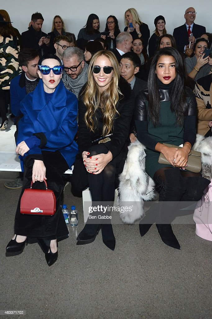 Michelle Harper, Harley Viera-Newton, and Hannah Bronfman attend the Jason Wu fashion show during Mercedes-Benz Fashion Week Fall 2015 at Spring Studios on February 13, 2015 in New York City.