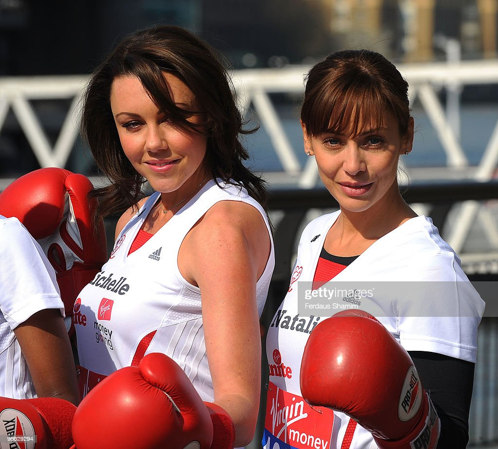 Michelle Heaton and Natalie Imbruglia attend a photocall for the 2010 Virgin London Marathon on April 23, 2010 in London, England.
