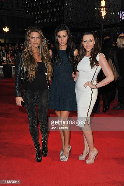 Michelle Heaton Katie Price and Ellie Jenas attend the European premiere of The Hunger Games at O2 Arena on March 14 2012 in London England