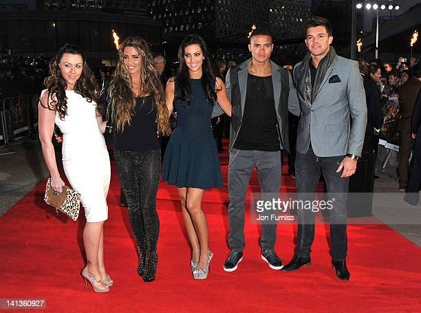 Michelle Heaton Katie Price Ellie Jenas guest and Leandro Penna attend the European premiere of The Hunger Games at O2 Arena on March 14 2012 in...