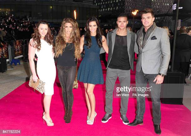Michelle Heaton Katie Price Ellie Jenas Jermaine Jenas and Leandro Penna arrive at the premiere of The Hunger Games at the O2 in London
