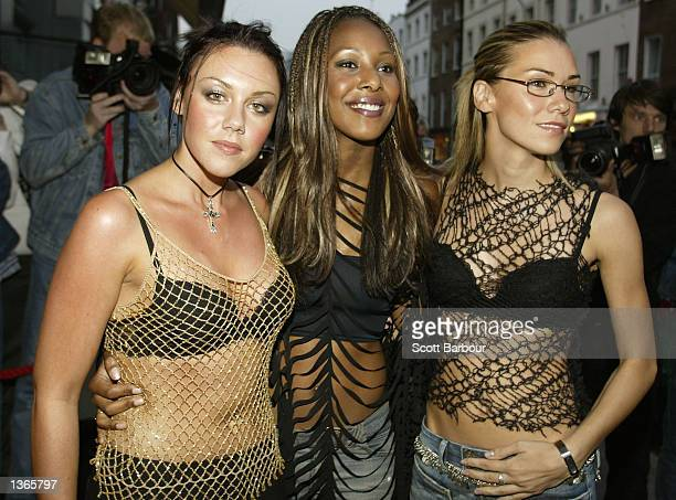 Michelle Heaton Kelli Young and Jessica Taylor of Liberty X arrive at a reception and private celebrity screening for 'The Bourne Identity' held at...