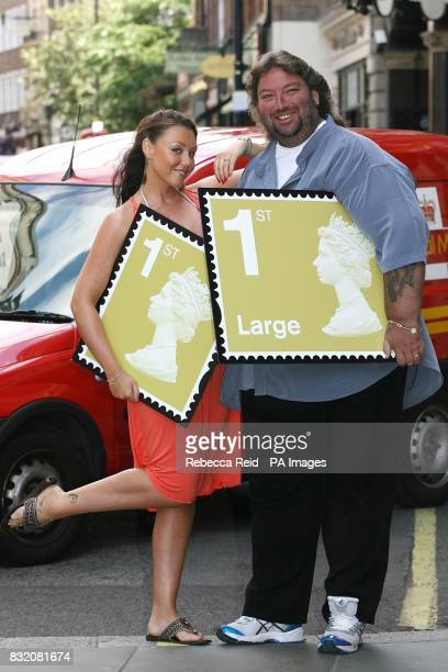 Michelle Heaton of Liberty X and former Darts World Champion Andy Fordham unveil Royal Mail's new 1st Class stamps for large letters on Upper St...