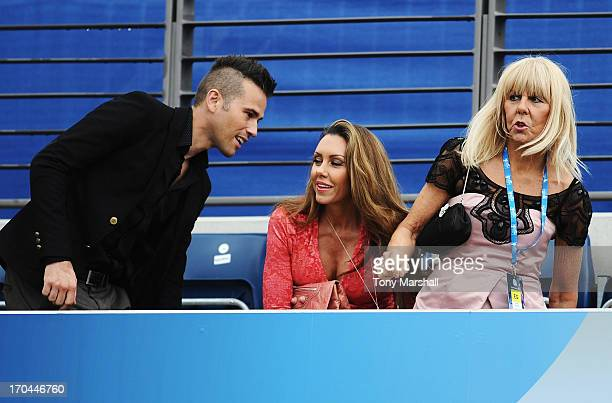 Michelle Heaton takes her seat on Ann Jones centre court on Ladies' Day during day five of the AEGON Classic tennis tournament at Edgbaston Priory...
