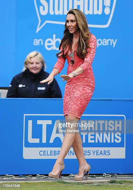 Michelle Heaton walks out onto Ann Jones centre court during Ladies' Day on day five of the AEGON Classic tennis tournament at Edgbaston Priory Club...