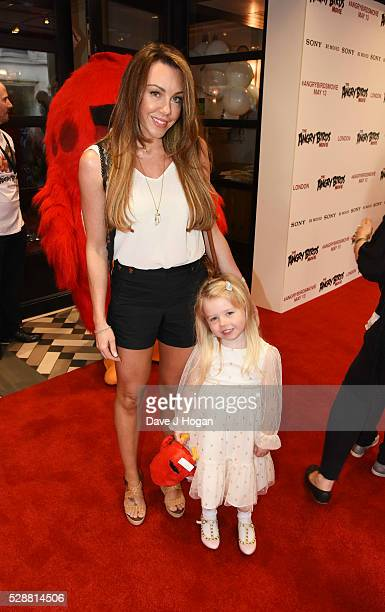 Michelle Heaton with her daughter Faith attend the UK gala screening of Angry Birds at Picturehouse Central on May 7 2016 in London England