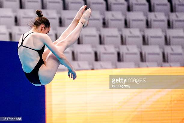 Michelle Heimberg of Switzerland competing at the Team Event Final during the LEN European Aquatics Championships 1m Springboard Preliminary at Duna...