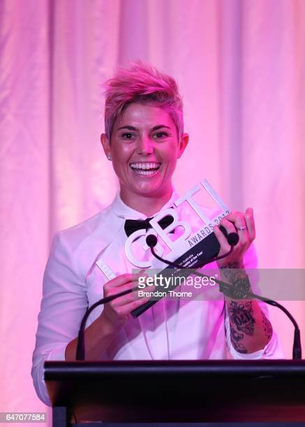 Michelle Heyman accepts the Cricket Australia Sport Personality award at the Australian LGBTI Awards 2017 at Sydney Opera House on March 2 2017 in...