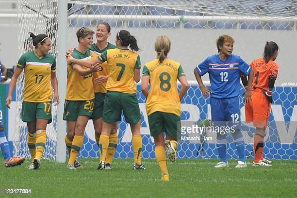 Michelle Heyman of Australia celebrates their second goal with his teammates Kyah SimonAivi LuikHeather Garriock during the Women's Olympic Football...